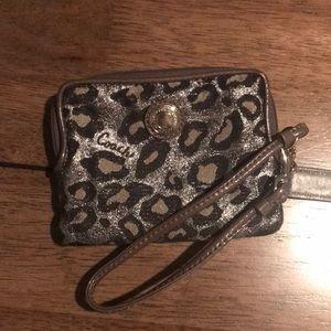 Coach cheetah print wristlet wallet